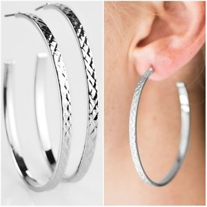 A CUT ABOVE THE REST SILVER HOOP EARRINGS